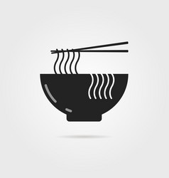black bowl icon with chinese noodles and shadow vector image