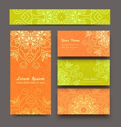 Color business cards Mandala vector image