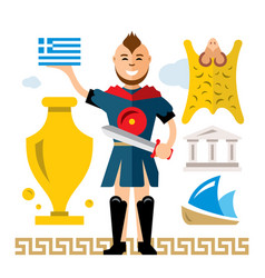 greece concept flat style colorful cartoon vector image vector image