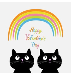 Happy Valentines Day Love card Rainbow and pink vector image vector image