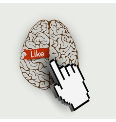 Human brain with link selection hand computer vector image vector image