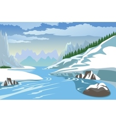 Mountains and river in winter vector image