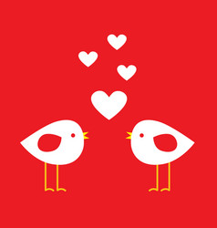 two cute birds with hearts vector image