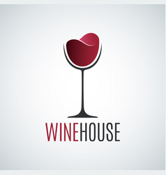 wine glass holiday logo background vector image