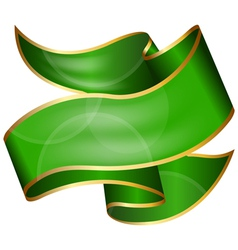 Big green ribbon isolated on white background vector image vector image