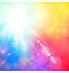 Bright shining sun with lens flare Soft background vector image vector image