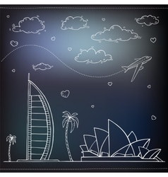 Egypt Hand drawn Travel and tourism background vector image