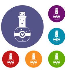 flask of love elixir icons set vector image vector image