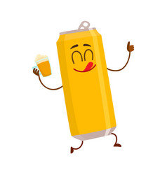 funny smiling beer can character drinking showing vector image vector image