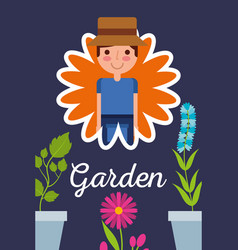 gardener in flower potted plants garden concept vector image