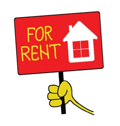 hand holding a sign with a message for rent vector image