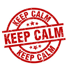 Keep calm round red grunge stamp vector