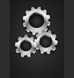 realistic gearwheel on black for design vector image