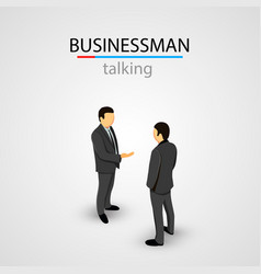 two businessmen in suits talking vector image
