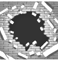 Destroyed brick wall vector