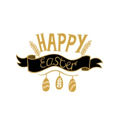 Golden Happy Easter lettering on white background vector image vector image