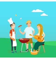 Happy friends on picnic Bbq party vector image