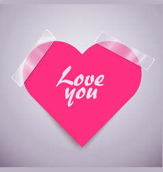 Pink heart sticker attached with a scotch tape vector
