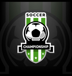 soccer championship logo on a dark background vector image vector image