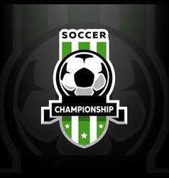 soccer championship logo on a dark background vector image