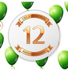 Golden number twelve years anniversary celebration vector image vector image