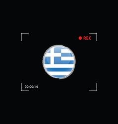 greek flag in focus on black background vector image vector image