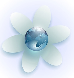 planet earth in the center of the white flower vector image