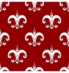 Seamless fleur-de-lis royal white pattern vector image