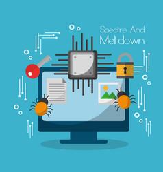 Spectre and meltdown computer motherboard virus vector