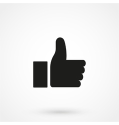 Thumbs up icon black on white background vector image vector image
