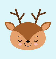 a head of a cute sleeping deer on a white vector image