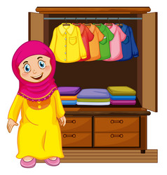 A muslim girl in front of closet vector