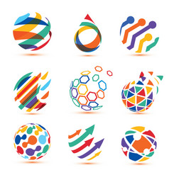 abstract globe and puzzle symbol setcommunication vector image