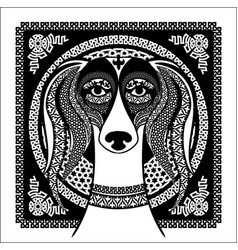 Arabic ornament image of an arabian saluki vector