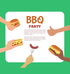 bbq party text sample hands vector image