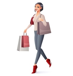 beautiful brunette lady walking with vector image