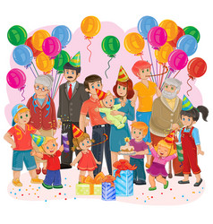 Big happy family together celebrate a birthday vector