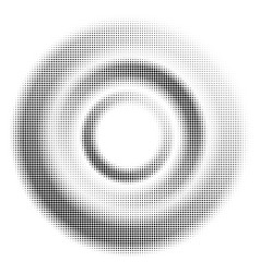 black halftone dotted circle vector image