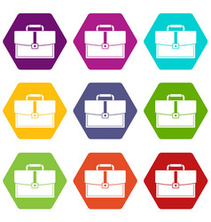 business briefcase icon set color hexahedron vector image
