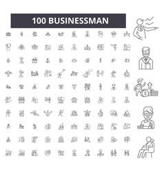 businessman editable line icons 100 set vector image