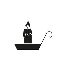 candle of black icon helloween fire one vector image