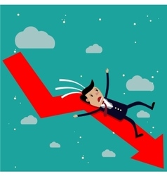 Cartoon businessman falling from the red chart vector