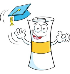 Cartoon diploma giving thumbs up vector image