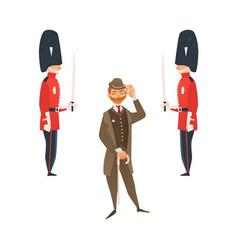 cartoon people in uk national costumes set vector image
