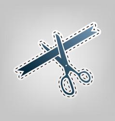 Ceremony ribbon cut sign blue icon vector