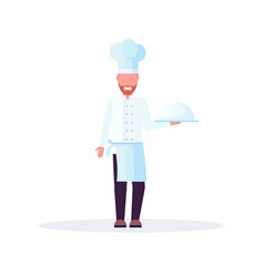 chef cook holding covered platter with dish man in vector image