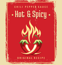 chili pepper vintage poster vector image