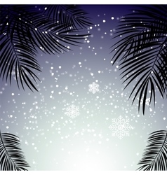 Christmas and New Year with palm leaves in the vector