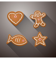 Christmas Gingerbread - Heart Fish Star and vector image