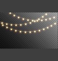 christmas lights isolated glowing garlands on vector image